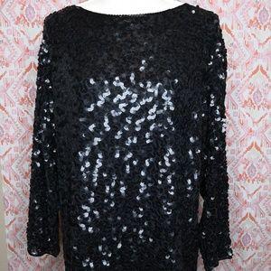 Vintage Sequin Silk Tunic Dress Medium Black PARTY